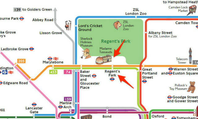 exemple plan metro londres avec monuments