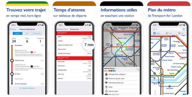 Application mobile avec plan de Londres et monuments