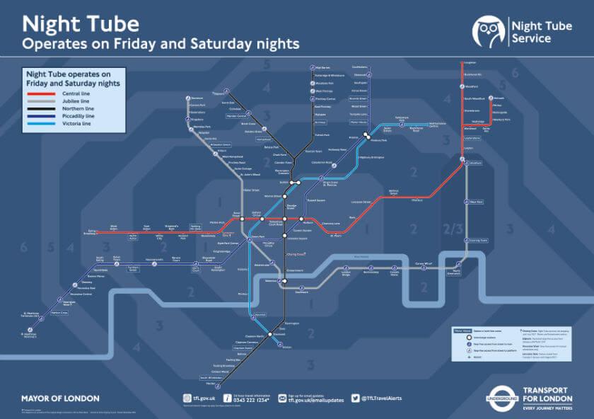 Plan Metro Londres Nuit
