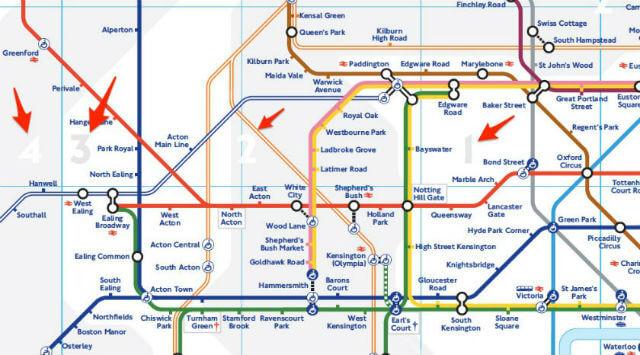 Plan du métro de Londres avec les différentes zones