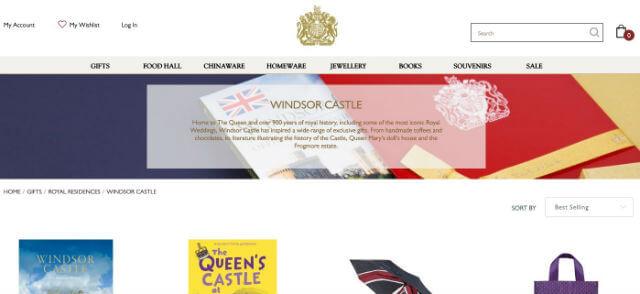 boutique en ligne du Château de Windsor