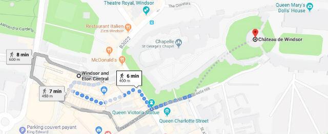 Itinéraire de la gare au château de Windsor