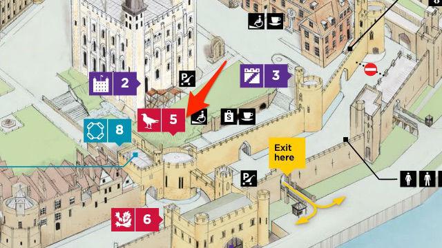 Plan indiquant la cage des corbeaux de la Tour de Londres