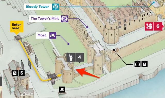 Plan présentant le lieu de départ du tour des gardes