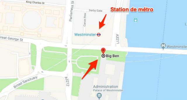 Station metro Big Ben
