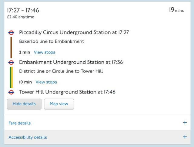 Trajet Metro Londres