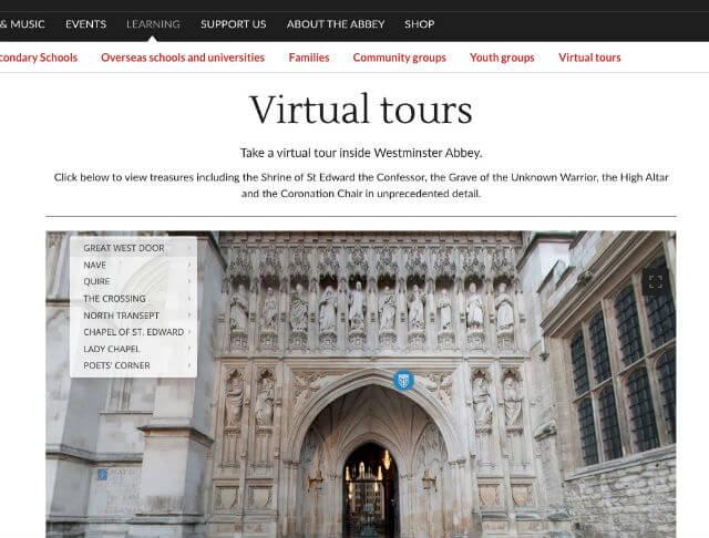 Visite virtuelle Abbaye Westminster