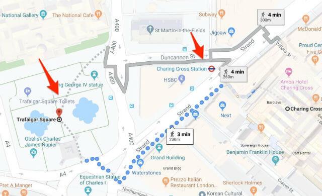 Itineraire station métro Charing Cross Trafalgar Square