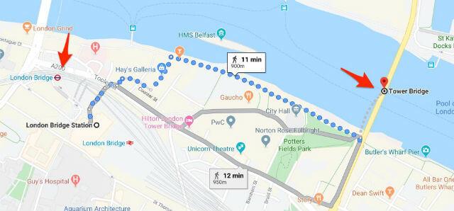 itineraire station metro londn bridge tower bridge