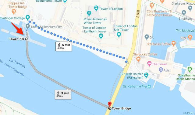 itineraire tower pier tower bridge