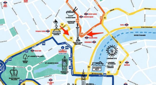 Arret bus Trafalgar Square