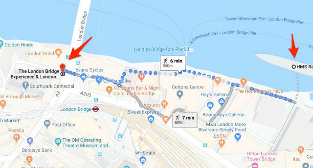 itineraire HMS Belfast London Bridge Experience