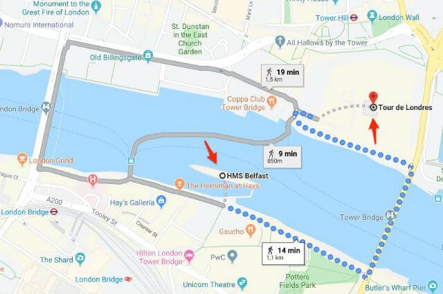 itineraire HMS Belfast La Tour de Londres