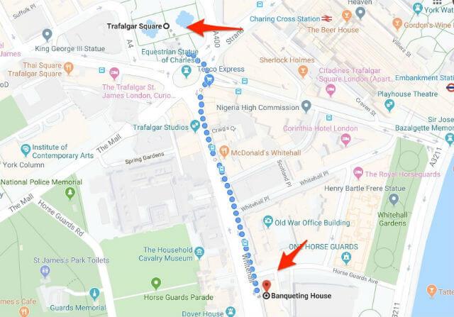 Itineraire Trafalgar Square Banqueting House