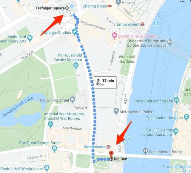 Itineraire Trafalgar Square Big Ben
