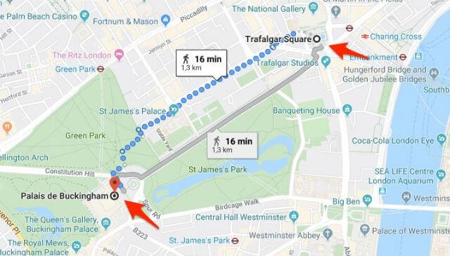 Itineraire Trafalgar Square Buckingham Palace