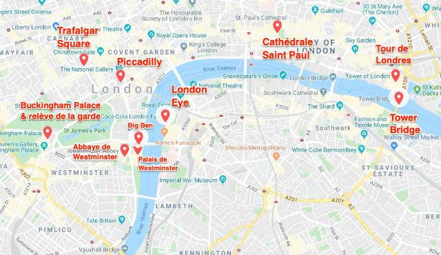 Carte incontournable Londres