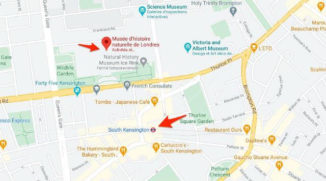 Plan Metro Musée Histoire Naturelle Londres