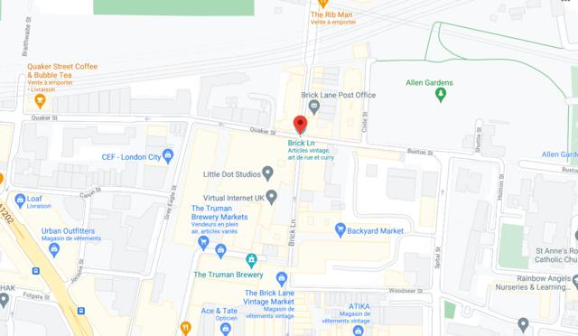 Plan quartier de Brick Lane