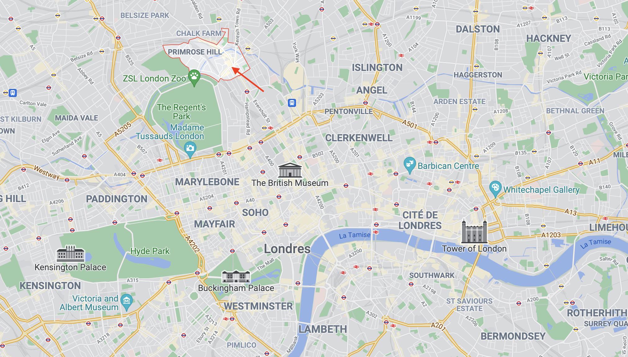 carte quartier Camden Town à Londres