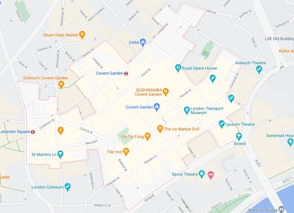 Plan quartier Covent Garden Londres