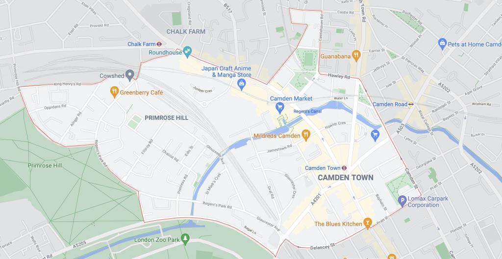 Plan du quartier de Camden Town à Londres